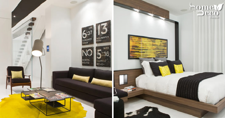 Modern Apartment Uses Black And White Palette Spiced Up With